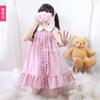 Dress Spring 2020 Pink Short Sleeve Dress Average size Middle-skirt Short sleeve Doll Collar Others 18-24 years old Type A 1007-1 More than 95% polyester fiber