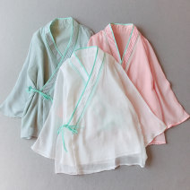 shirt Pink, white, turquoise Average size Summer 2020 polyester fiber 71% (inclusive) - 80% (inclusive) three quarter sleeve commute Regular V-neck Frenulum pagoda sleeve Solid color 25-29 years old Straight cylinder Other / other Retro Lace up, splice, strap Chiffon