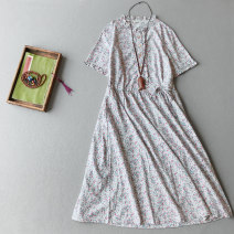 Dress Summer 2020 Green, blue Average size Mid length dress singleton  Short sleeve commute stand collar middle-waisted Broken flowers Socket A-line skirt routine 25-29 years old Type A Other / other Retro Auricularia auricula, lace up, stitching, bandage, button, printing MM050 hemp