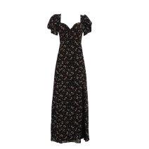 Dress Summer 2021 Black, pink XS,S,M,L longuette singleton  V-neck High waist Chiffon