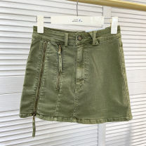 skirt Summer 2020 S,M,L Military green spot commute low-waisted 30% and below Korean version