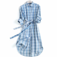 Dress Summer 2020 Blue vertical stripe, blue grid S,M,L Mid length dress singleton  elbow sleeve commute Polo collar High waist Single breasted A-line skirt routine Others Type A