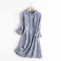 Dress Autumn 2020 Gray blue 36,38,40 Mid length dress singleton  Nine point sleeve commute Crew neck High waist Solid color zipper Big swing pagoda sleeve Others Type A lady