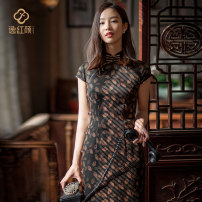 cheongsam Spring 2021 S M L XL XXL Dumb black Short sleeve long cheongsam Retro High slit daily Round lapel Decor Over 35 years old Piping 2122Q05CZ1LK E. Beauty / Beauty silk Mulberry silk 100% Pure e-commerce (online only) 96% and above