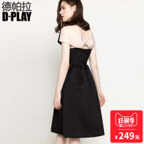 Dress / evening wear Party company annual meeting SMLXL Black + Pink other Middle-skirt High waist Spring of 2018 Fluffy skirt Deep collar V zipper 26-35 years old D749570 Sleeveless Solid color DPLAY other Polyester 100% Pure e-commerce (online only)