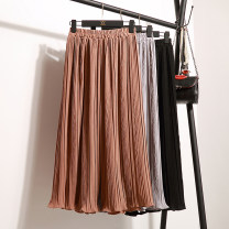 Casual pants Khaki, light grey, dark blue, pink, army green Average size Summer 2017 Ninth pants Wide leg pants High waist Versatile routine 18-24 years old 91% (inclusive) - 95% (inclusive) other