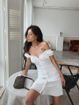 Dress Summer 2020 Black, white XS,S,M,L Middle-skirt Short sleeve One word collar High waist Single breasted A-line skirt puff sleeve Type A More than 95% cotton