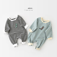 Jumpsuit / climbing suit / Khaki A Bao girl Class A neutral Black bar, green bar 66 cm,73 cm,80 cm,90 cm cotton spring and autumn Long sleeves Long climb Korean version Freshmen, 3 months, 6 months, 12 months, 18 months, 2 years old, 3 years old, 9 months old Chinese Mainland