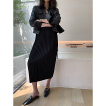 skirt Autumn of 2019 XS,S,M Black spot, dark red spot, black 15 working days Mid length dress commute High waist Pleated skirt Solid color 25-29 years old JC010 More than 95% merveilles polyester fiber Simplicity