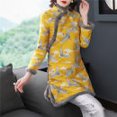 cheongsam Winter 2020 XXL,S,M,L,XL Yellow, rose pink Long sleeves Qipao ethnic style Low slit daily Oblique lapel Animal pattern 18-25 years old Embroidery 96% and above