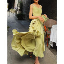 Dress Spring 2021 Green, green second batch S,M,L longuette singleton  Sleeveless commute V-neck High waist Solid color Socket Big swing straps 25-29 years old Type X Zhao Sanguan Retro MSG21031208