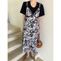 Dress Summer 2021 S, M Mid length dress singleton  Sleeveless Sweet V-neck High waist Decor Socket A-line skirt routine Type A printing