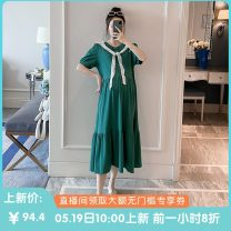 Dress Other / other Short sleeve Korean version Medium and long term summer Crew neck Solid color cotton 19358 Chinese Mainland Zhejiang Province Hangzhou green One size fits all