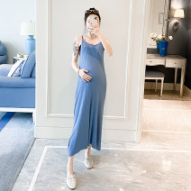 Dress Other / other Blue, pink, black Average size Korean version Sleeveless have more cash than can be accounted for summer Solid color Iced silk