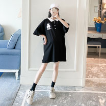 T-shirt Lapel Average size Other / other White, black Short sleeve summer Korean version Medium length Cartoon animation routine Pure cotton (95% and above)