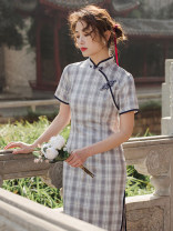 cheongsam Summer 2021 S,M,L,XL Picture color Short sleeve long cheongsam Retro Low slit daily Oblique lapel lattice 18-25 years old Piping 51% (inclusive) - 70% (inclusive)