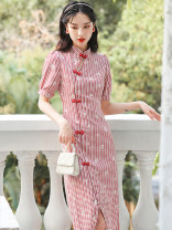 cheongsam Summer 2021 S,M,L Picture color Short sleeve long cheongsam Retro Low slit daily Oblique lapel Dot 18-25 years old Piping 51% (inclusive) - 70% (inclusive)