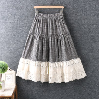 skirt Summer 2021 Average size Black, apricot longuette Natural waist A-line skirt lattice Type A 91% (inclusive) - 95% (inclusive) cotton