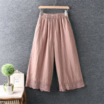 Casual pants White, black, light brown, brown Average size Ninth pants Wide leg pants Natural waist original routine 96% and above cotton Embroidery cotton