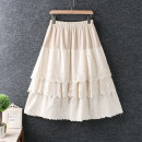 skirt Spring 2021 Average size White, apricot, black longuette commute High waist Solid color Type A cotton Splicing