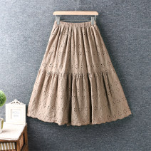 skirt Spring 2021 Average size White, black, apricot, coffee longuette Solid color cotton