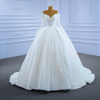 Wedding dress Spring 2021 white Customized [contact customer service] (no return, no change) Korean version Long tail Bandage Hotel Interior One shoulder Netting Three dimensional cutting High waist 18-25 years old Sequins Sleeved shawl Realsmile Large size 96% and above