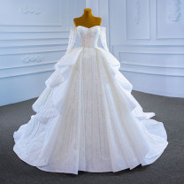 Wedding dress Spring 2021 white Customized [contact customer service] (no return, no change) Korean version Long tail Bandage Hotel Interior One shoulder Netting Three dimensional cutting High waist 18-25 years old Sequins Sleeved shawl Realsmile Large size American network 96% and above