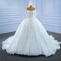 Wedding dress Spring 2021 white Customized [contact customer service] (no return, no change) Sweet Long tail Bandage Hotel Interior other Netting Three dimensional cutting High waist 18-25 years old Diamond ornament Sleeveless shawl Realsmile Large size American network 96% and above