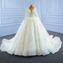 Wedding dress Spring 2021 white Customized [contact customer service] (no return, no change) Korean version Long tail Bandage church Deep collar V Gridding yarn Three dimensional cutting High waist 18-25 years old Pearl Sleeved shawl Realsmile Large size 96% and above