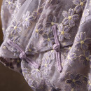 Dress Spring 2021 Purple. Scheduled for 30 days S,M,L Mid length dress Two piece set Short sleeve Sweet stand collar High waist Socket other routine Others Spring home More than 95% other polyester fiber