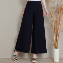 Casual pants black M,L,XL,4XL,XXL,XXXL Summer of 2019 Ninth pants Wide leg pants Other styles 35-39 years old 51% (inclusive) - 70% (inclusive) other Embroidery cotton