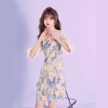 Dress Summer 2021 Color matching XS,S,M,L,XL Mid length dress singleton  Short sleeve street square neck High waist Socket A-line skirt puff sleeve Others Type A Mg elephant MZ131321 More than 95% polyester fiber Europe and America