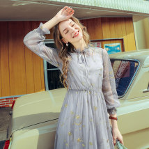 Dress Summer of 2018 Light grey Navy XS S M L XL Mid length dress Two piece set Long sleeves street Crew neck Elastic waist Solid color Socket routine