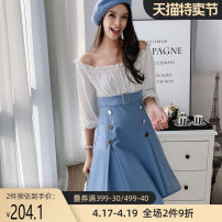 Dress Autumn of 2018 Lake blue color matching S M L XL Mid length dress Fake two pieces three quarter sleeve commute Crew neck middle-waisted other Socket A-line skirt bishop sleeve Others 25-29 years old Type H Big pink doll lady fold S811U More than 95% other polyester fiber Polyester 100%