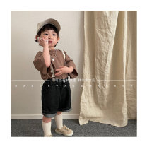 T-shirt Charcoal black, brown Other / other 3(80cm),5(90cm),7(100cm),9(110cm),11(120cm),J1(130cm),J2(140cm) neutral summer Long sleeves Lapel and pointed collar Korean version nothing cotton Solid color Cotton 100% mnp
