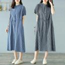 Dress Summer 2020 Blue stripe, black stripe One size fits all cotton / linen fabric Mid length dress singleton  commute stripe Socket routine Bronze buckle Korean version 71% (inclusive) - 80% (inclusive) hemp