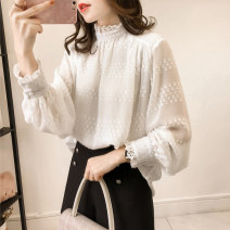 Lace / Chiffon Spring of 2019 Blue, white L,XL,2XL,3XL,4XL Long sleeves commute Socket singleton  easy Medium length Half high collar Solid color bishop sleeve 25-29 years old Button Korean version 81% (inclusive) - 90% (inclusive)