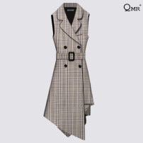 Vest Spring 2020 Grey check [in stock] black [in stock] 155/80A/S 160/84A/M 165/88A/L 170/92A/XL Medium length tailored collar commute lattice double-breasted JSQMR3691 I-shaped 30-34 years old QMR / qianmurong 96% and above polyester fiber Pleated pocket with lace up buttons Polyester 100%