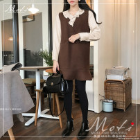 Fashion suit Winter of 2019 S,M,L,XL Off white shirt, brown vest skirt 18-25 years old Other / other 1035#-1 96% and above