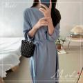 Dress Autumn 2020 blue S,M,L,XL Miniskirt singleton  three quarter sleeve commute Crew neck Loose waist Others 18-24 years old 3210#
