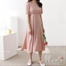 Dress Summer 2020 Pink, beige S,M,L,XL Mid length dress singleton  Short sleeve commute V-neck other routine 18-24 years old Other / other 31% (inclusive) - 50% (inclusive) polyester fiber