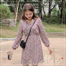 Dress Spring 2020 violet S,M,L,XL Short skirt singleton  Long sleeves commute V-neck High waist Others 18-24 years old Korean version Chiffon