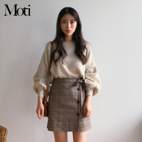 Fashion suit Spring 2021 S. M, l, XL, one size fits all Apricot sweater, coffee skirt, grey skirt 18-25 years old 8058# acrylic fibres