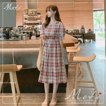 Dress Summer of 2019 Red, green S,M,L,XL Mid length dress singleton  Short sleeve commute square neck High waist lattice Socket bishop sleeve Others 18-24 years old Other / other B- 91% (inclusive) - 95% (inclusive)