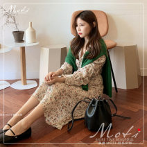 Dress Winter of 2019 Elegant lady fan Xiaokai collar Floral Dress S,M,L,XL Mid length dress singleton  Long sleeves commute High waist 18-24 years old Other / other lady
