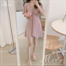 Dress Summer of 2019 White, blue, pink S,M,L,XL Middle-skirt singleton  Short sleeve commute V-neck High waist Solid color other Others 18-24 years old Other / other Pleating