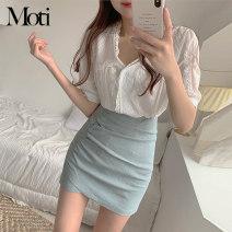 Fashion suit Winter 2016 XS,S,M,L Blue skirt, apricot skirt, lace top, black top 3052+3039