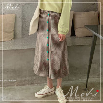 skirt Autumn of 2019 S. M, l, average size Bodyguard, skirt Mid length dress Versatile High waist other lattice 18-24 years old 31% (inclusive) - 50% (inclusive) Other / other cotton