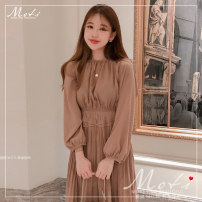Dress Autumn 2020 Dress S,M,L,XL Mid length dress singleton  Long sleeves Crew neck High waist Solid color Pleated skirt Others 18-24 years old Type A 81% (inclusive) - 90% (inclusive) other