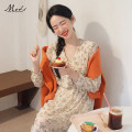 Dress Summer of 2019 Apricot S,M,L,XL Mid length dress singleton  Long sleeves commute V-neck High waist Broken flowers routine Others 18-24 years old Other / other Korean version 231# 81% (inclusive) - 90% (inclusive) Chiffon